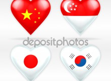 China,  Singapore, Japan, and South Korea heart flag set of Asian states